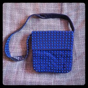 Vintage blue round bead double sided square purse